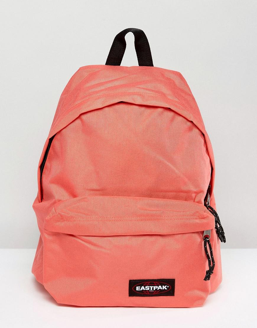 Eastpak Padded Pak R Leather Backpack In Black For Men: Eastpak Padded Pak R In Coral In Pink