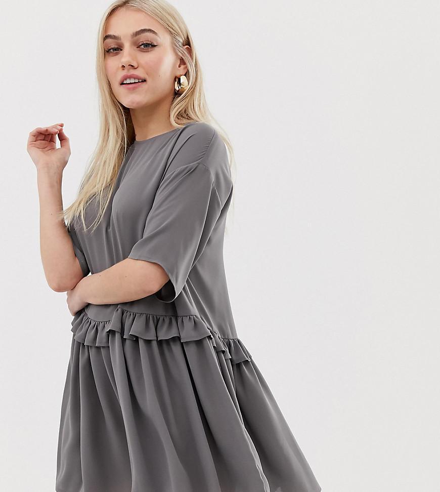 d453174547c Lyst - ASOS Asos Design Petite Mini Smock Dress With Frill Waist in Gray