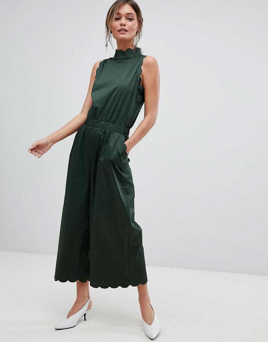 22c3efff21f Lyst - Ted Baker High Neck Scalloped Jumpsuit in Green