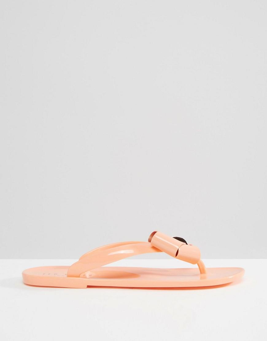 11efa66942d4fc Lyst - Ted Baker Ettiea Orange Oversized Bow Flip Flops in Orange