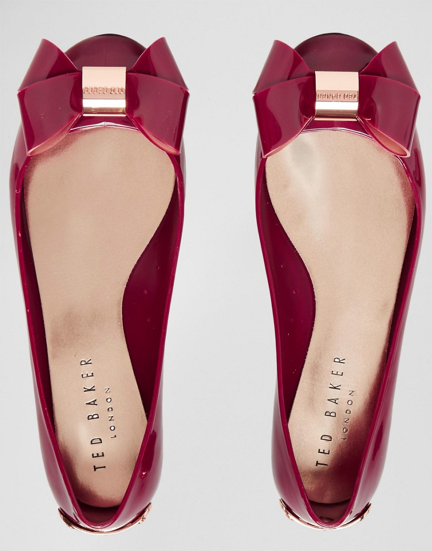 9abd055b74073 Ted Baker Faiyte Red Oversized Bow Ballet Flat Shoes in Red - Lyst