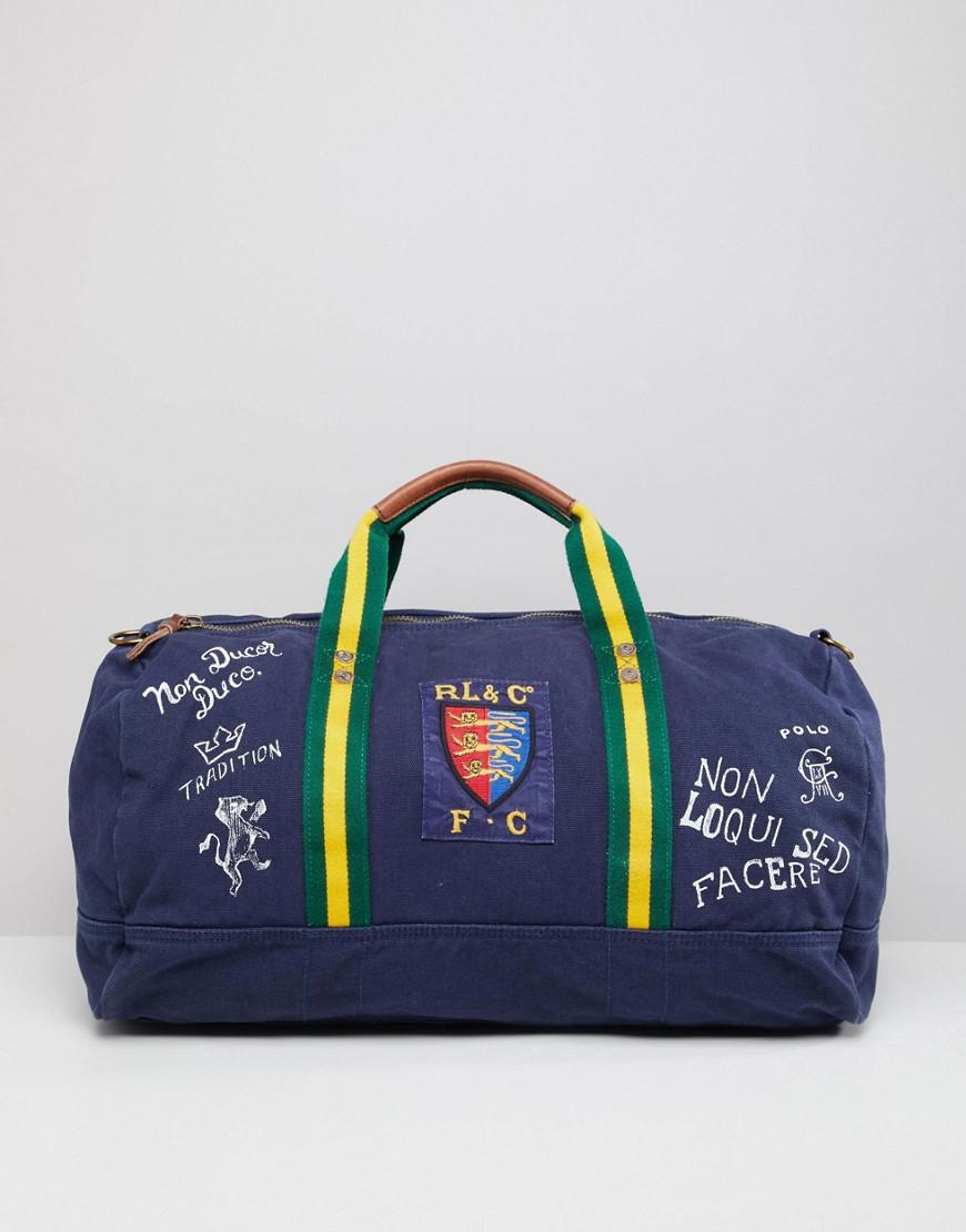 e582d475acce Polo Ralph Lauren Canvas Large Player Logo Duffel Bag In Navy in ...