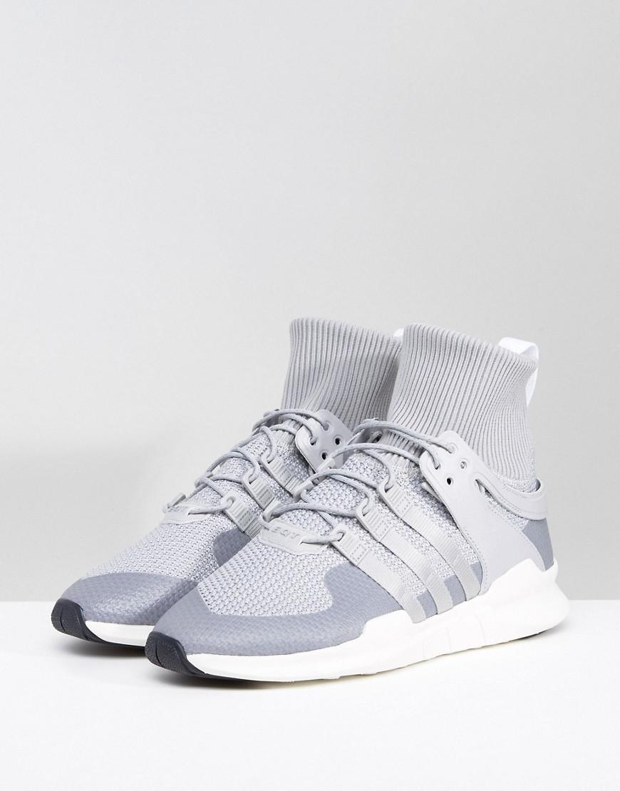 adidas Originals Leather Eqt Support Adv Winter Trainers in Grey (Grey) for Men