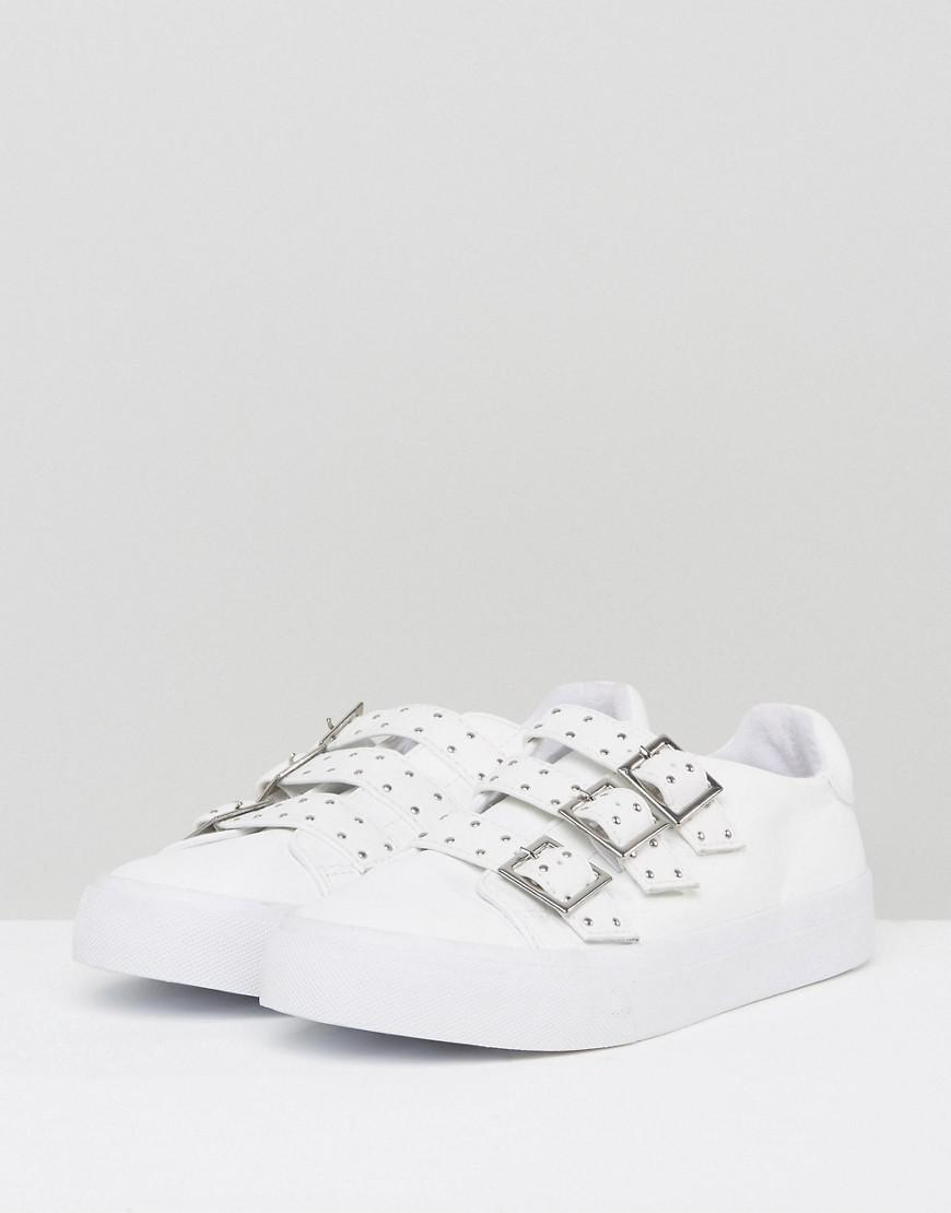 ASOS Denim Dee Wide Fit Buckle Sneakers in White