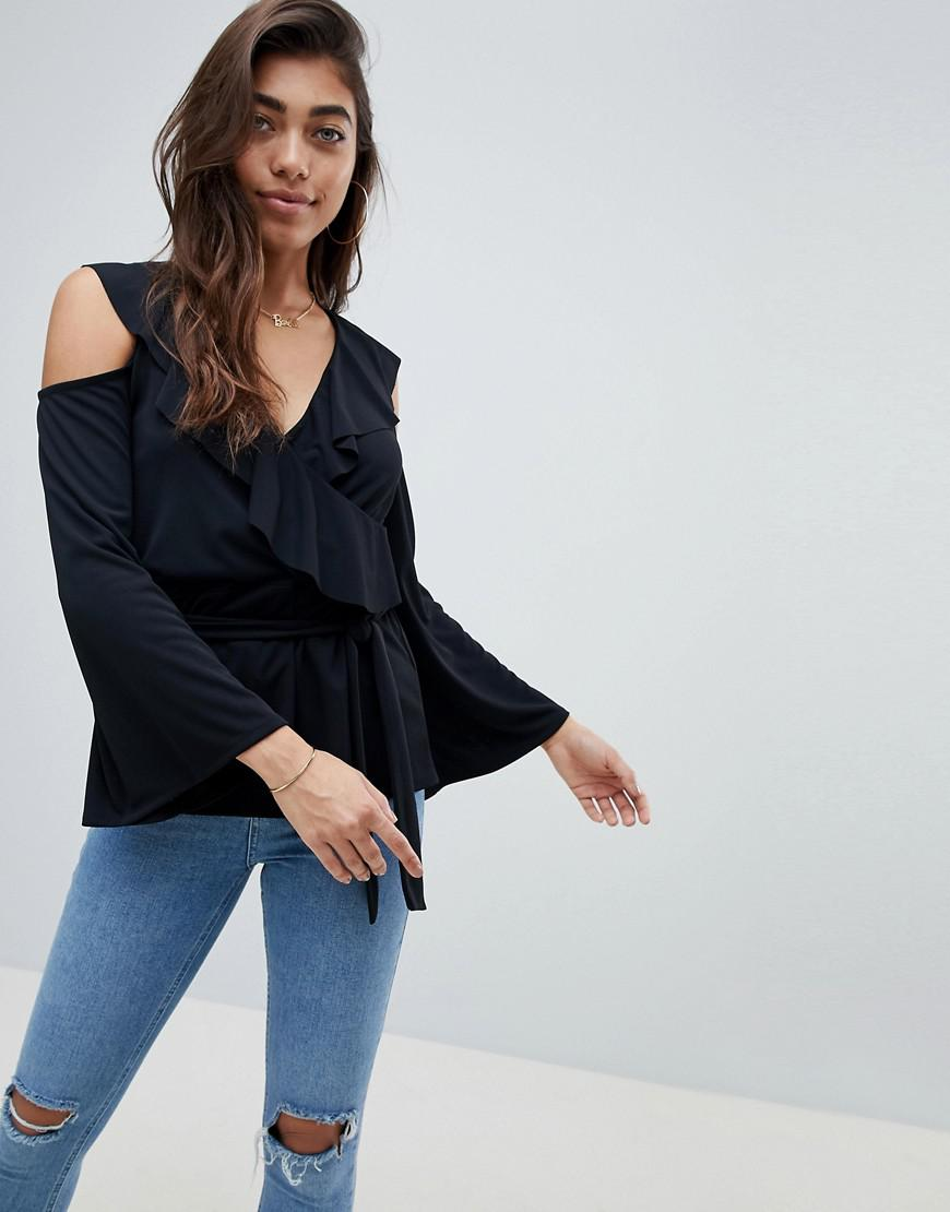 d2951ca952d9 ASOS Belted Wrap Top With Ruffle Cold Shoulder in Black - Lyst