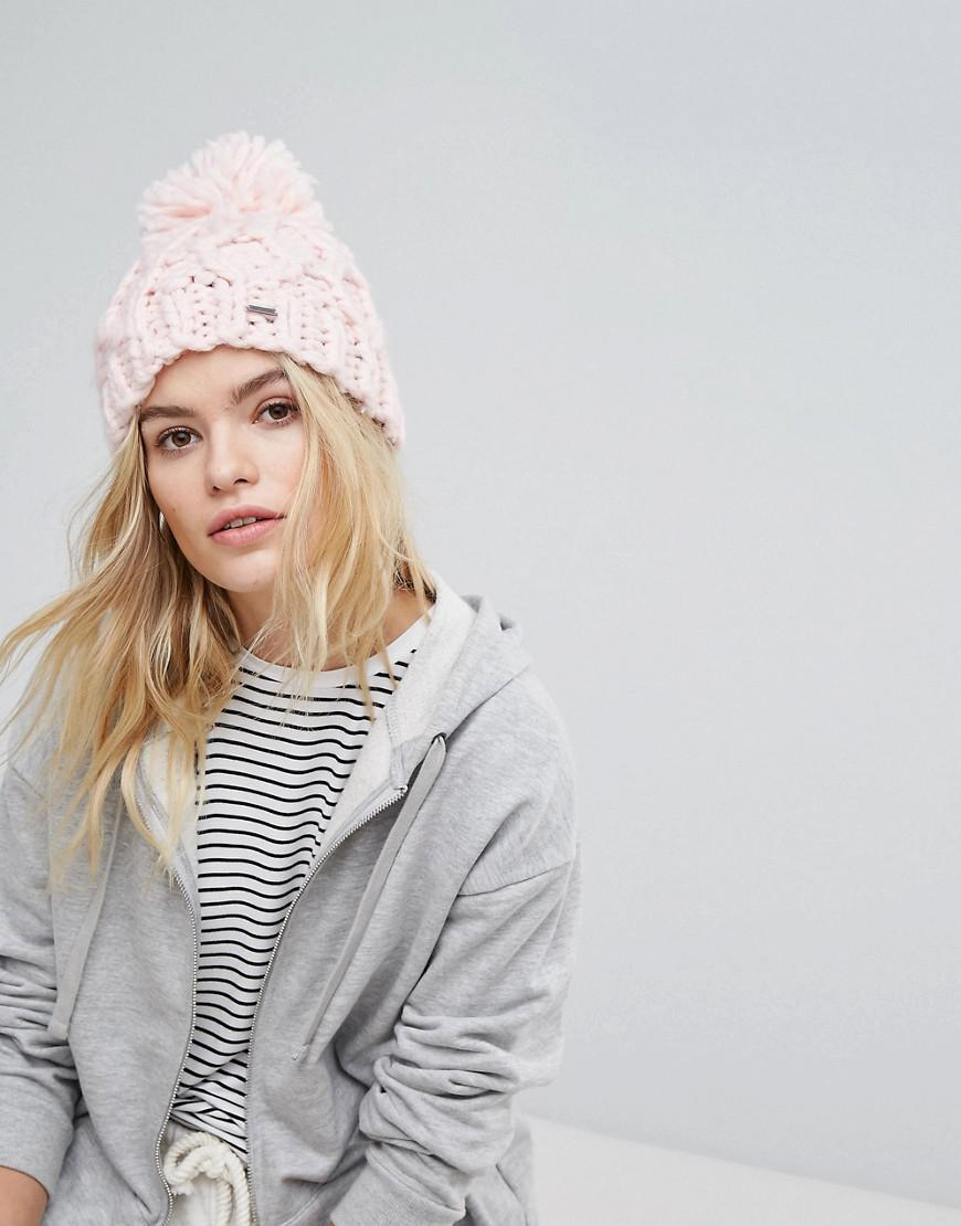 b6fb0a23a Hollister Knitted Beanie With Pom Pom in Pink - Lyst