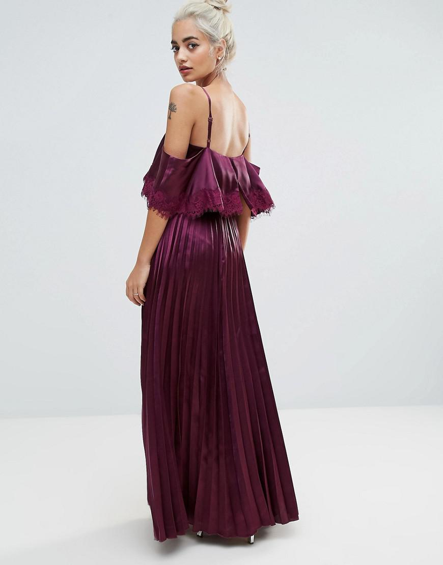 82d0ce9f508 ASOS Satin Pleated Cami Lace Trim Crop Top Maxi Dress in Red - Lyst