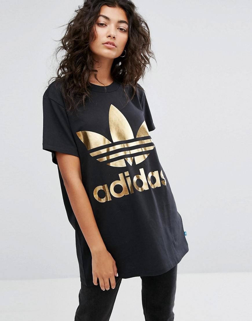 Tía Tía dinero  adidas Originals Synthetic Gold Trefoil Tee In Black - Lyst