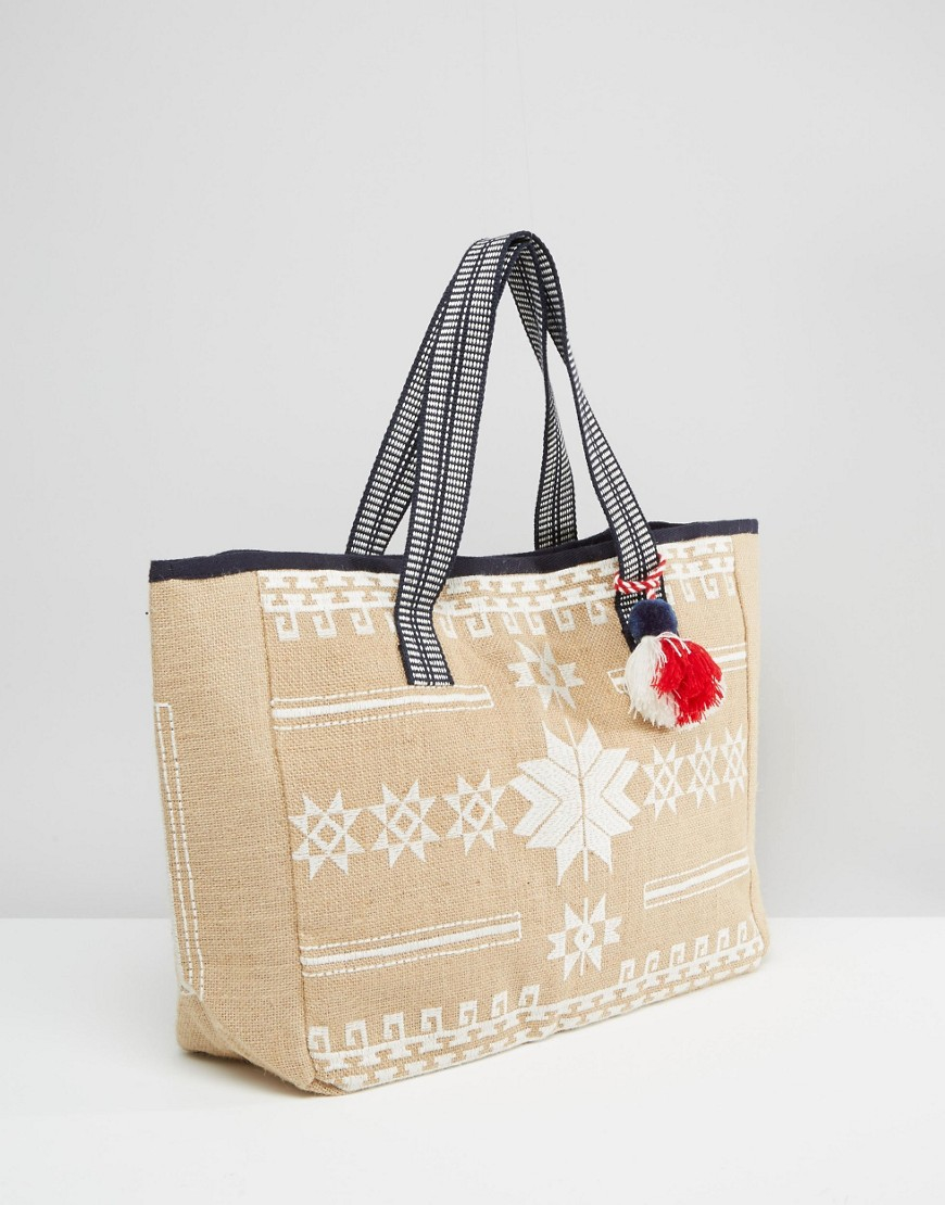 Mango embroidered beach bag in brown lyst