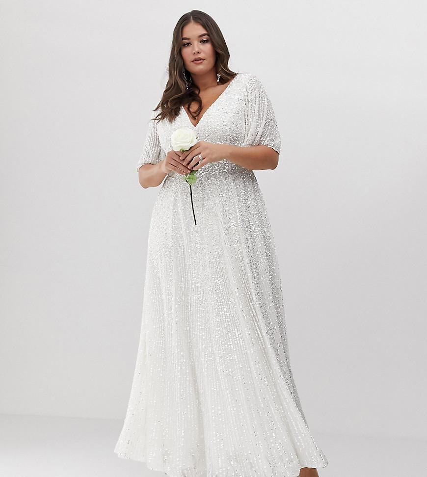 Asos Wedding Dress.Women S White Curve Flutter Sleeve Sequin Maxi Wedding Dress