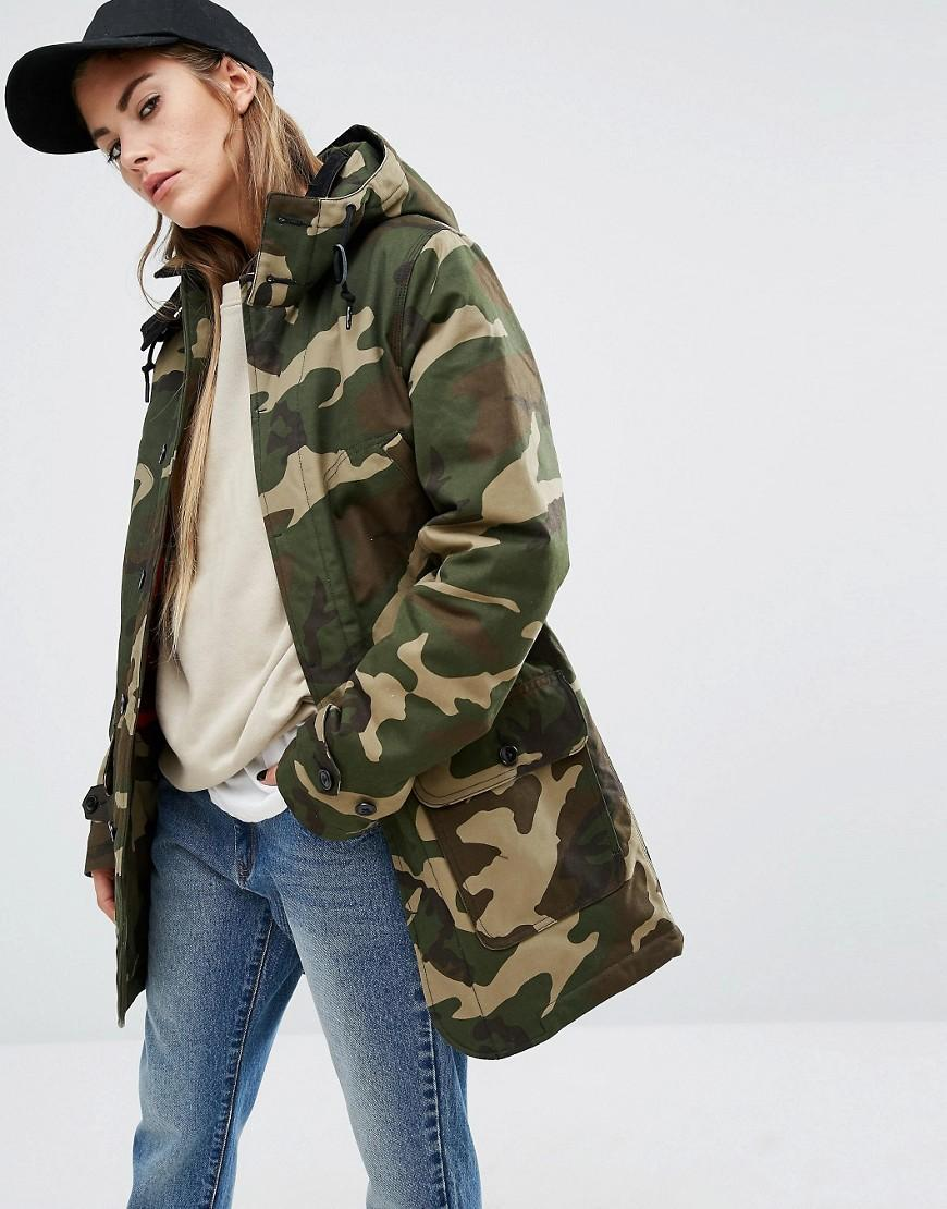 the cheapest pick up reliable quality Oversized Smith Hooded Parka Coat In Camo Print