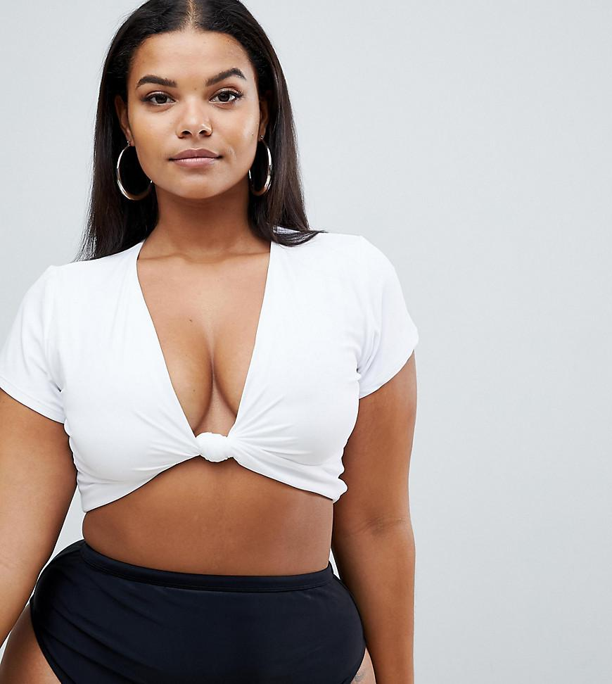 259917f3105 ASOS Asos Design Curve Deep Plunge Tie Front Tshirt Bikini Top In White