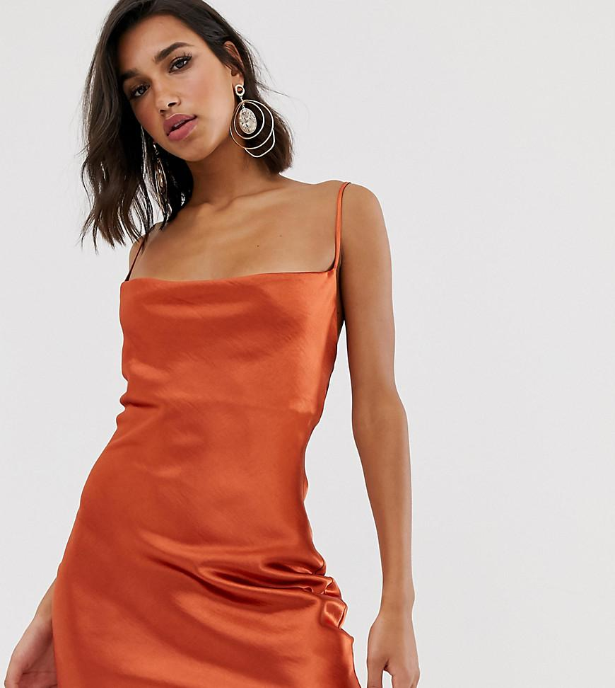 64b984eaee5 ASOS Cami Mini Slip Dress In High Shine Satin With Lace Up Back in ...