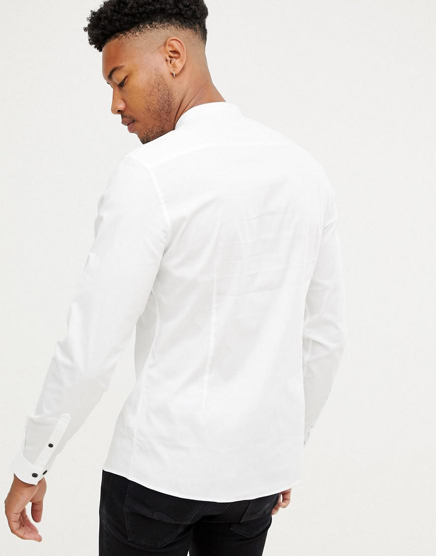 269f286aaf4 Lyst - Asos Design Tall Slim Shirt With Grandad Collar   Contrast Buttons  in White for Men