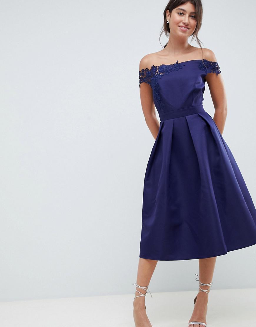9d572e54bbda11 Robe de bal de promo mi-longue coupe évasée à encolure Bardot et appliqué  femme de coloris bleu