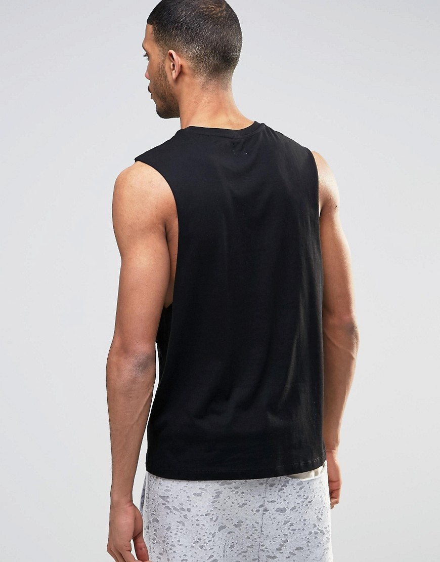 Asos Sleeveless T Shirt With Numeral Print In Black Lyst