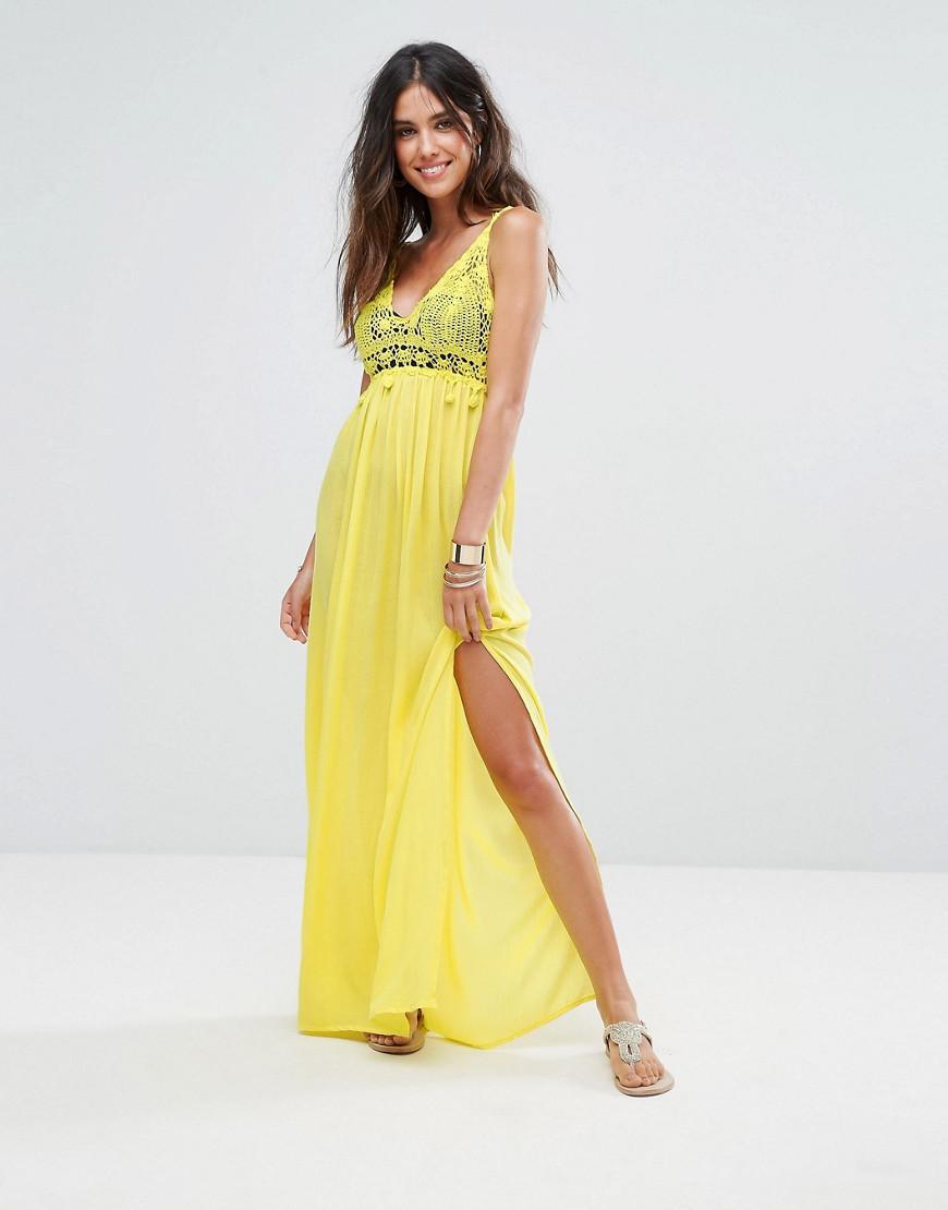 5a8d8de6af Liquorish Crochet Knitted Maxi Beach Dress in Yellow - Lyst