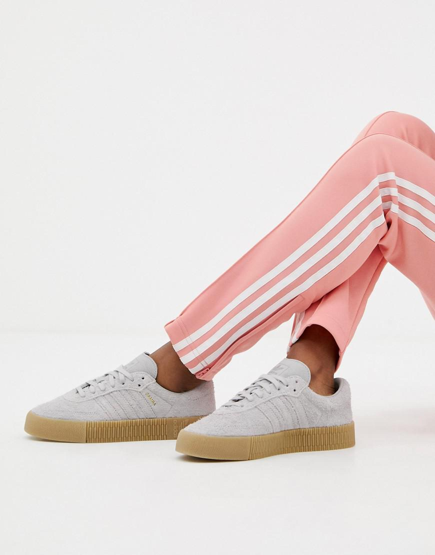 b582acd88a5 adidas Originals Samba Rose Sneakers In Gray With Gum Sole in Gray - Lyst