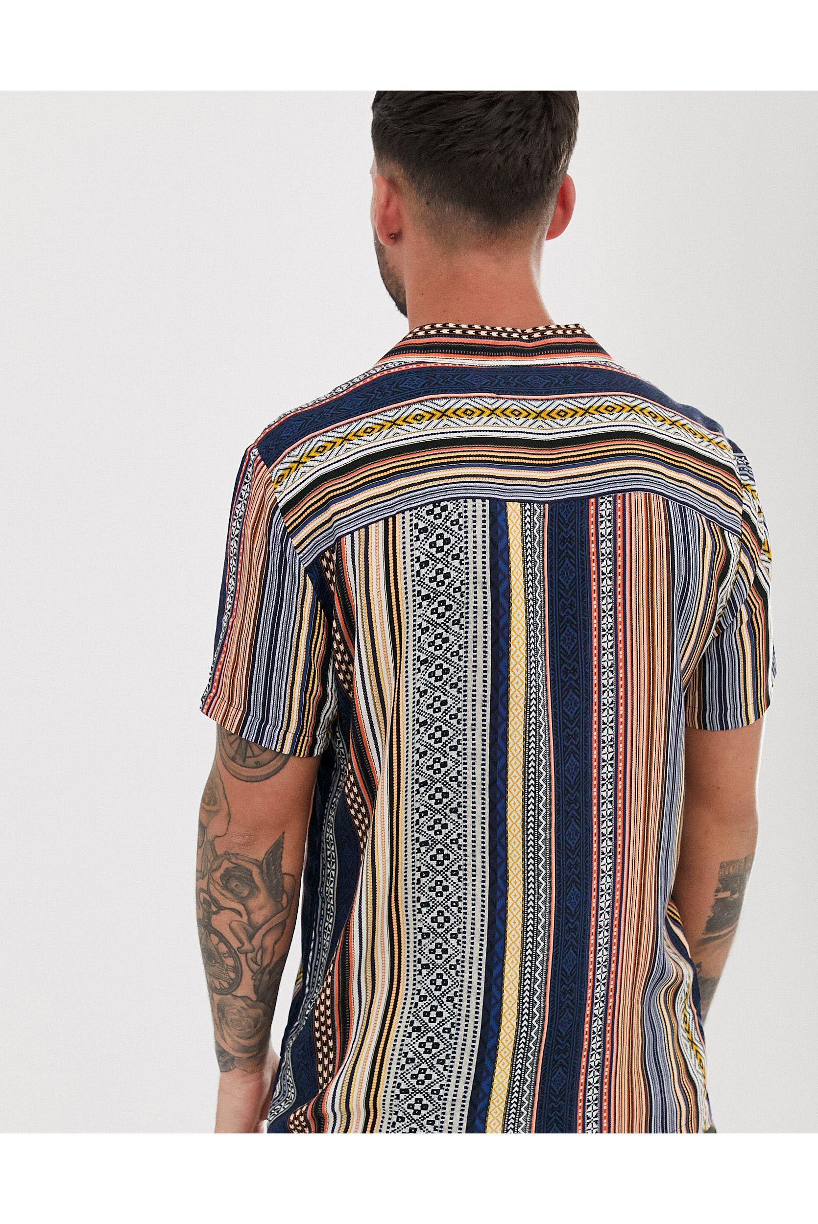 River Island Denim Overhemd Met Reverskraag En Aztekenprint in het Oranje voor heren