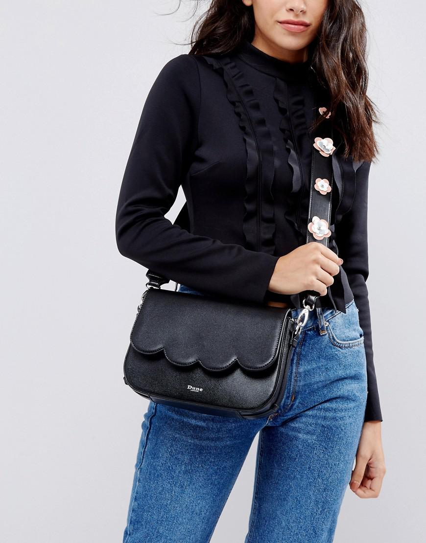Dune Black Scalloped Cross Body Bag With Floral Applique Strap