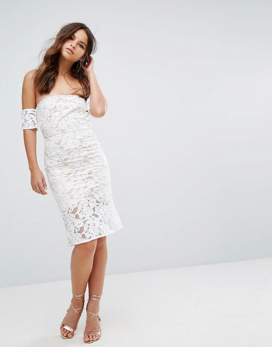 Cheap Looking For Free Shipping Fashion Style PRETTYLITTLETHING Lace Trim Bardot Midi Dress M3LSDf