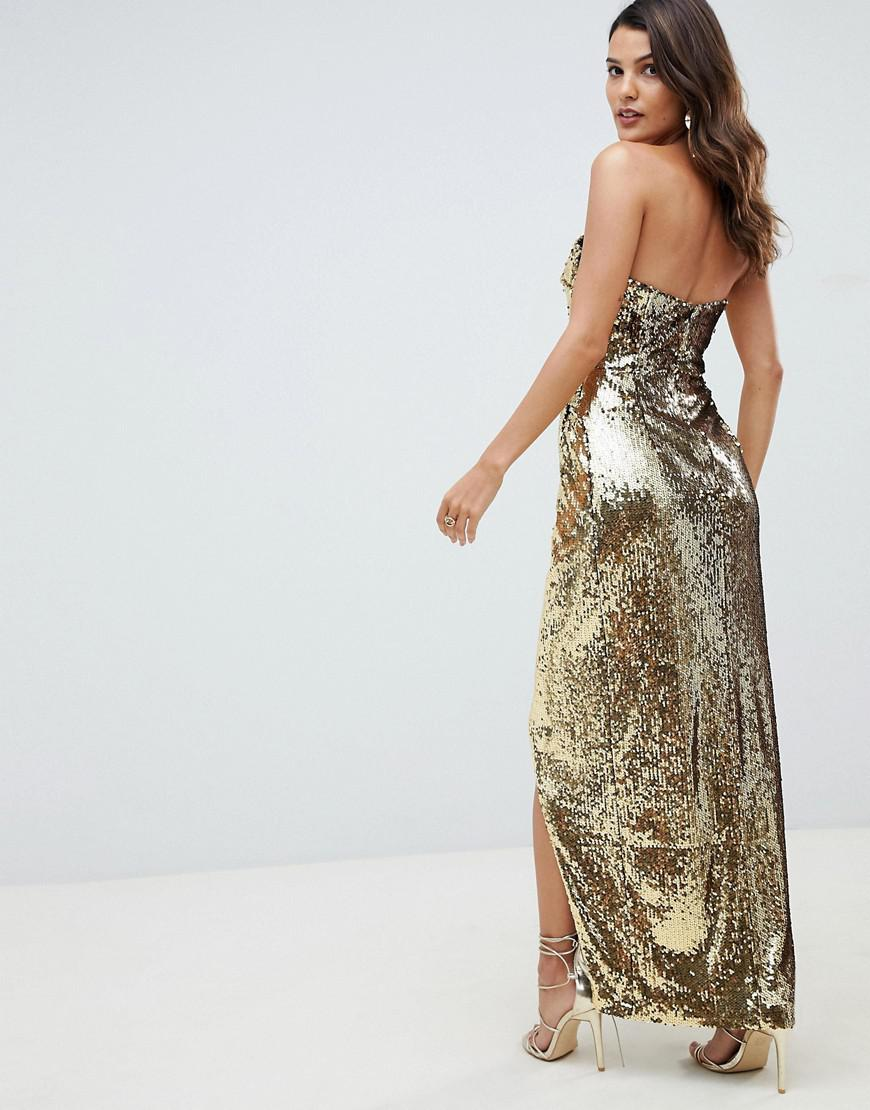 4f464388e8b ASOS Bandeau Maxi Dress In Allover Sequin in Metallic - Lyst