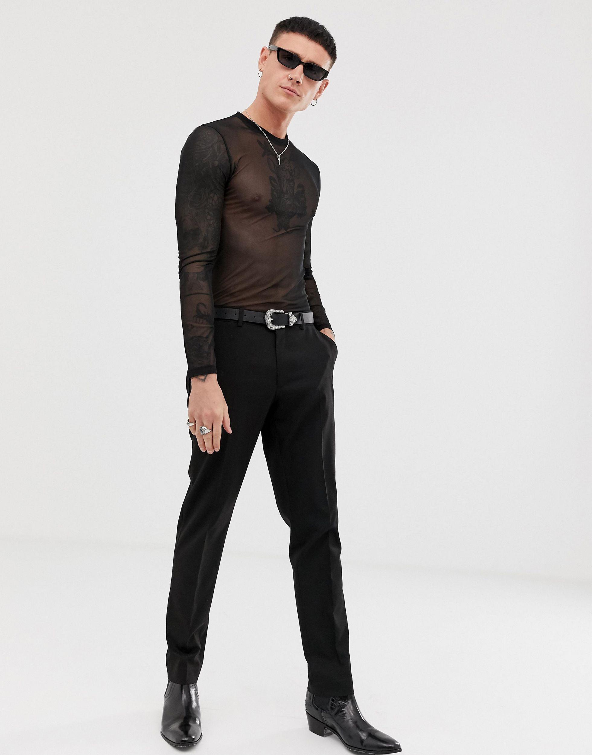 ASOS Synthetisch Aansluitend Bodysuit Met Lange Mouwen En Stretch Van Mesh in het Zwart voor heren