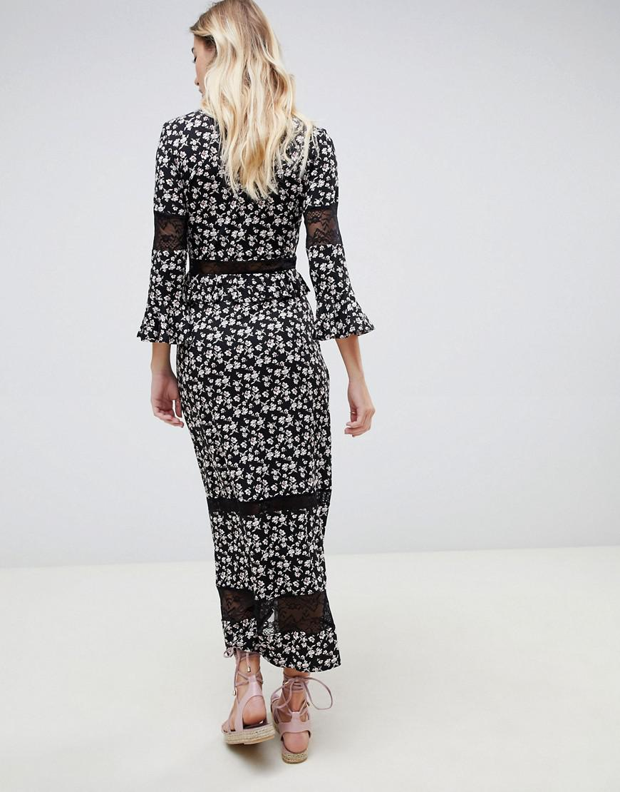 e6df05e1ceb ASOS City Maxi Tea Dress With Lace Inserts In Ditsy Print - Lyst