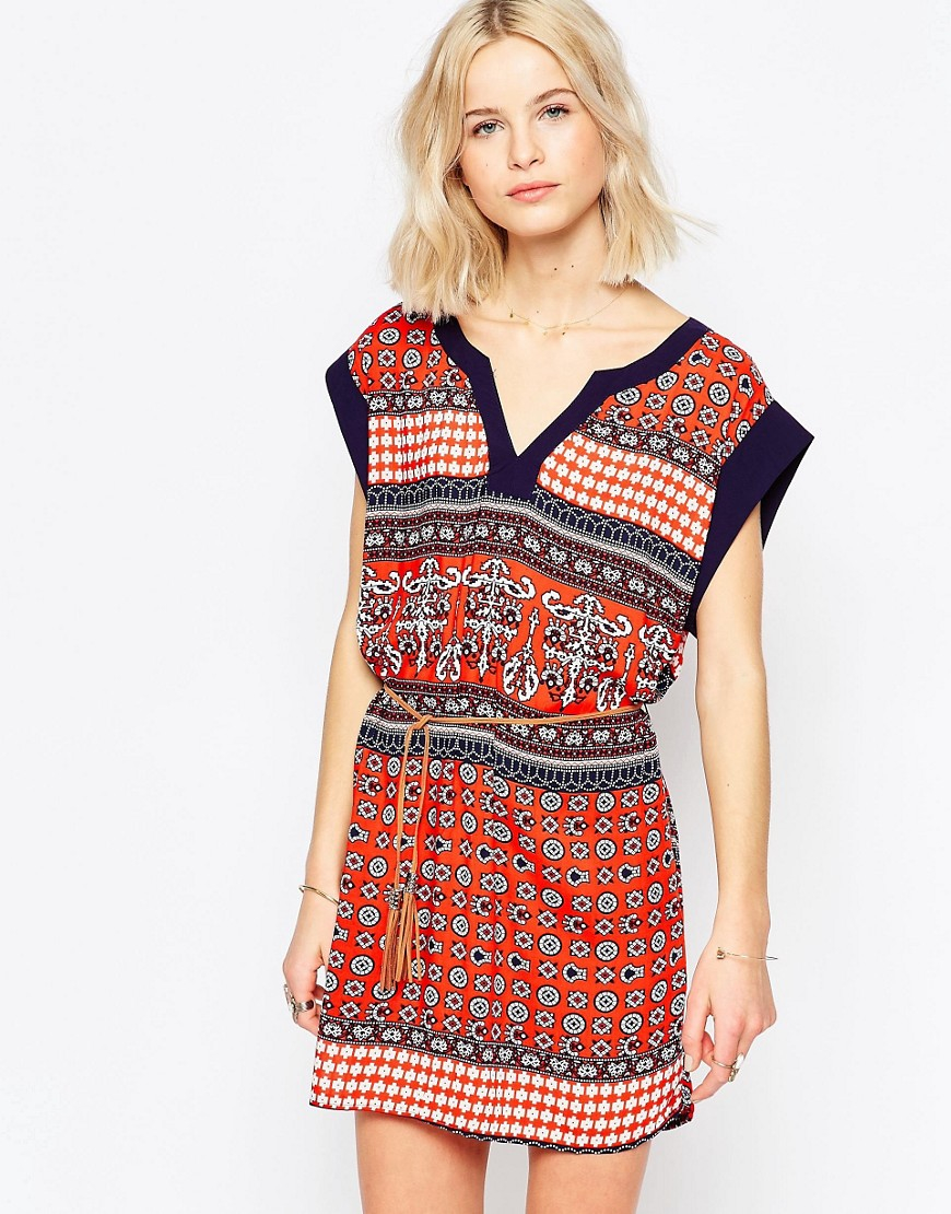 brave soul belted tunic dress in multicolor redcombo