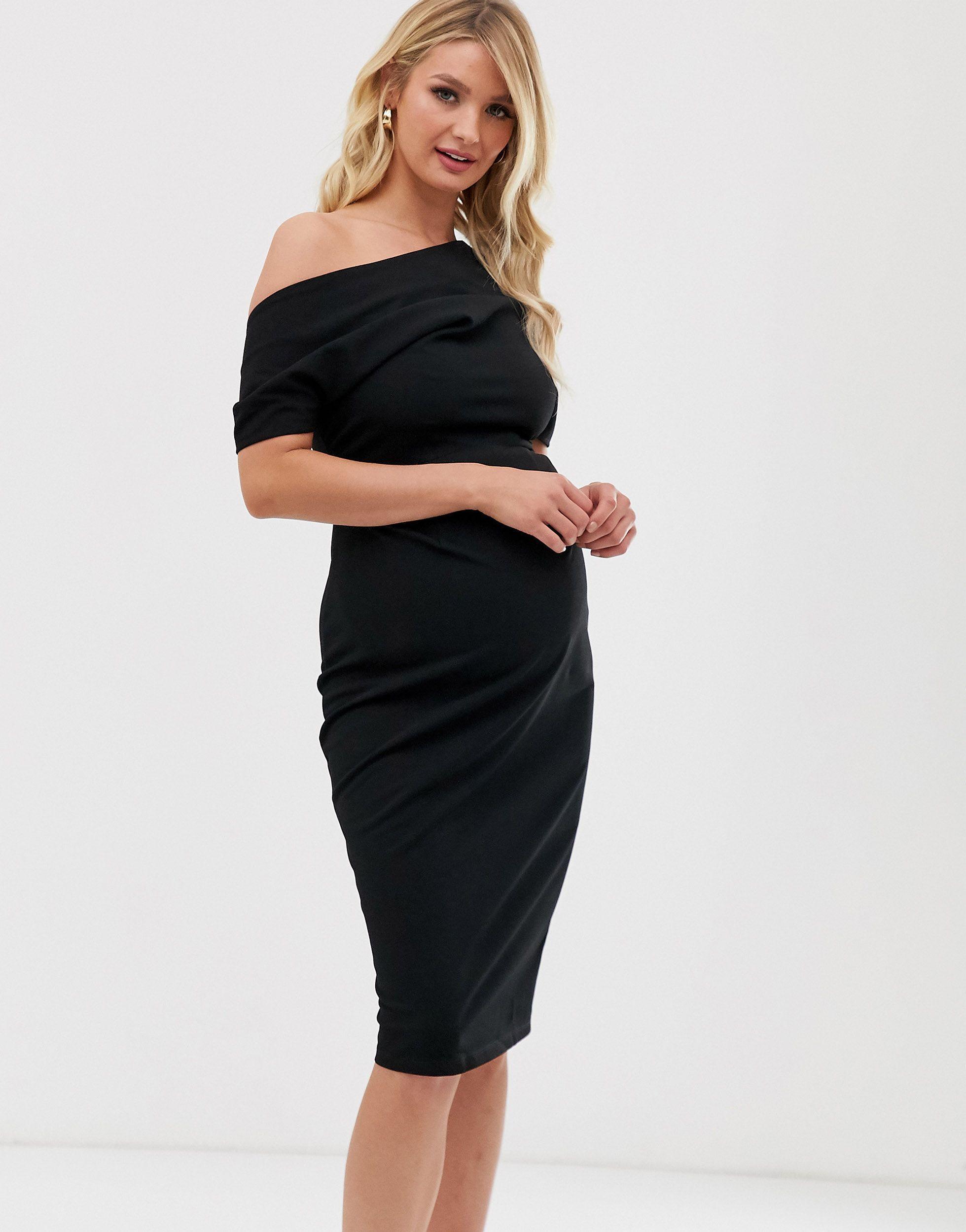 ASOS DESIGN Maternity - Robe fourreau à épaules plissées Jean ASOS en coloris Noir