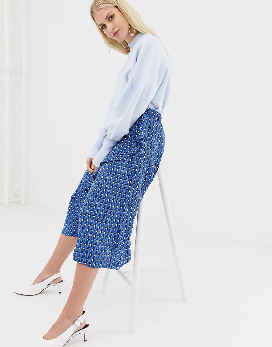 8438cf976 Y.A.S Leaf Print Midi Skirt in Blue - Lyst