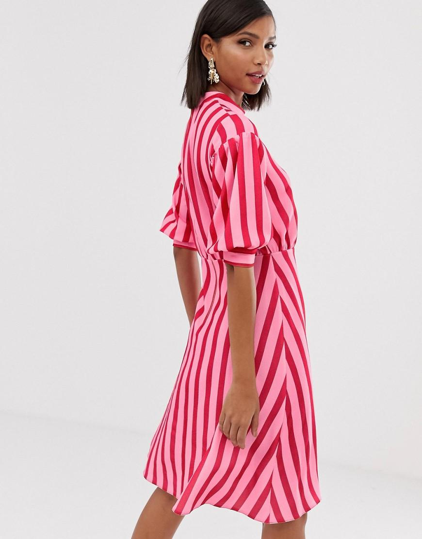 a3cc31ccc4a0 Closet High Neck Midaxi Skater Dress In Contrast Candy Stripe in Pink - Lyst