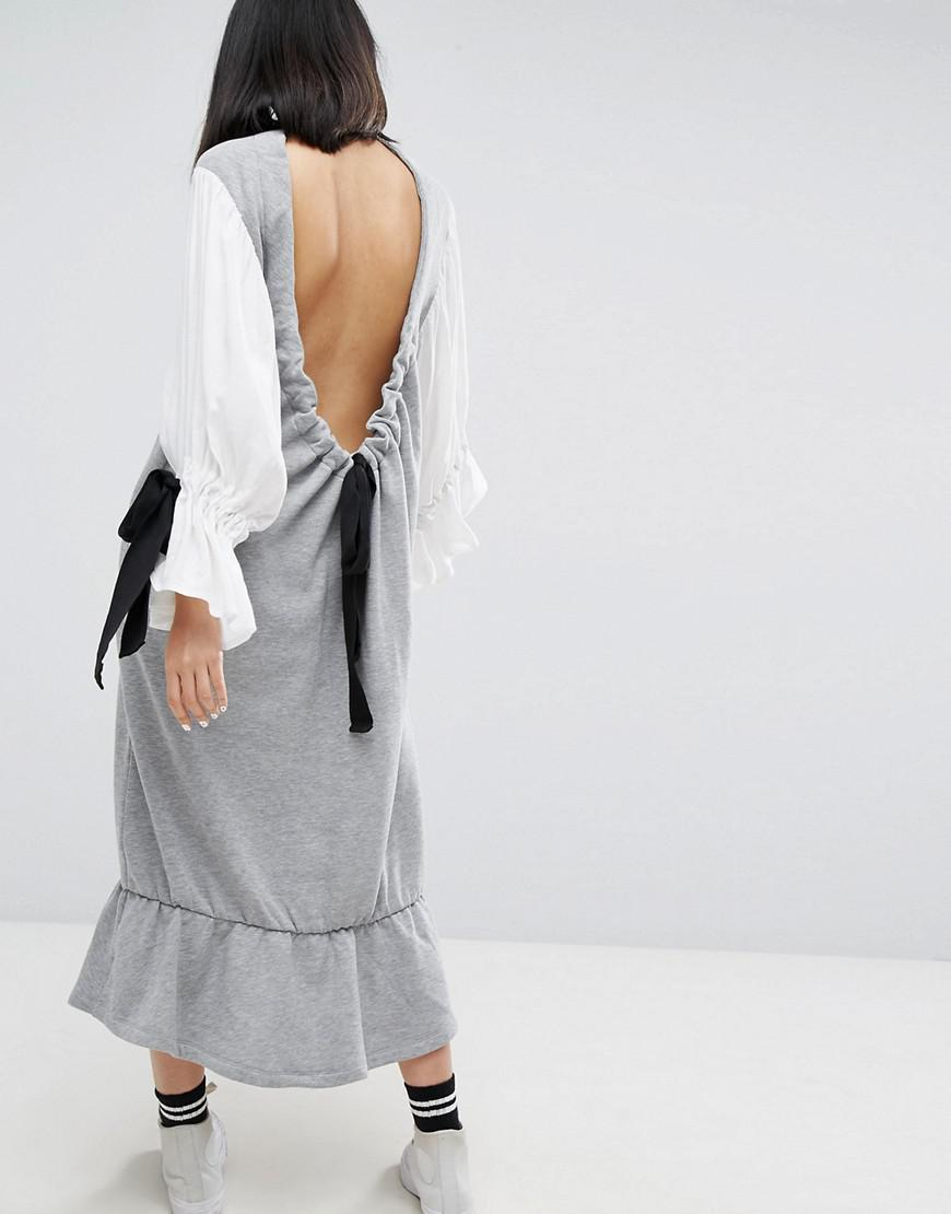 ea192949f1b Lyst - ASOS Open Back Sweat Dress With Contrast Balloon Sleeves in Gray