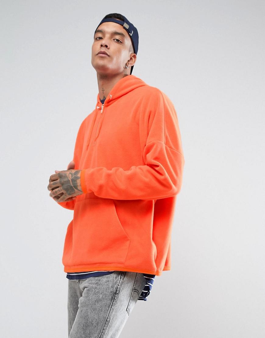 8a8dc28439 Lyst - Asos Oversized Half Zip Fleece Hoodie in Orange for Men