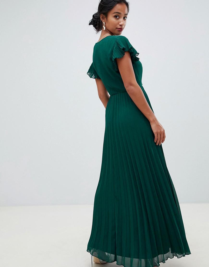 6e7e54e942b Lyst - ASOS Asos Design Petite Pleated Maxi Dress With Flutter Sleeve in  Green