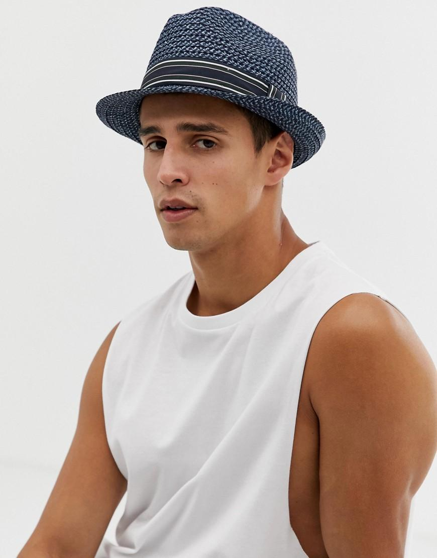 dbacb2d38 Ted Baker Denim Syrup Straw Trilby In Blue for Men - Lyst