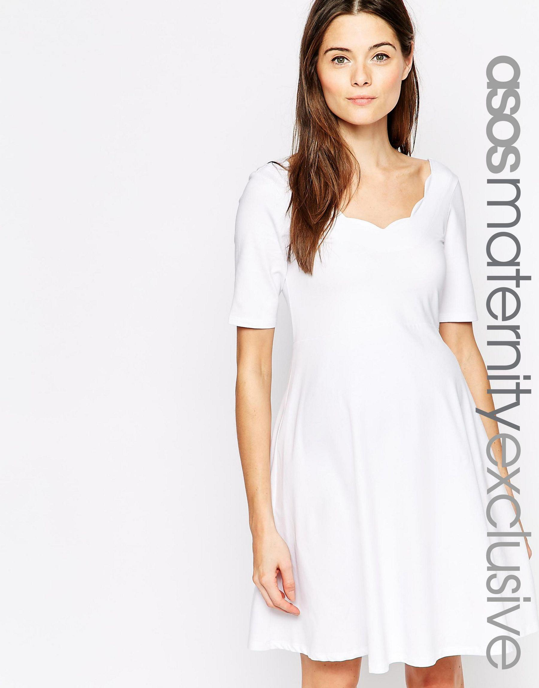 Asos maternity scallop skater dress in white lyst gallery ombrellifo Choice Image