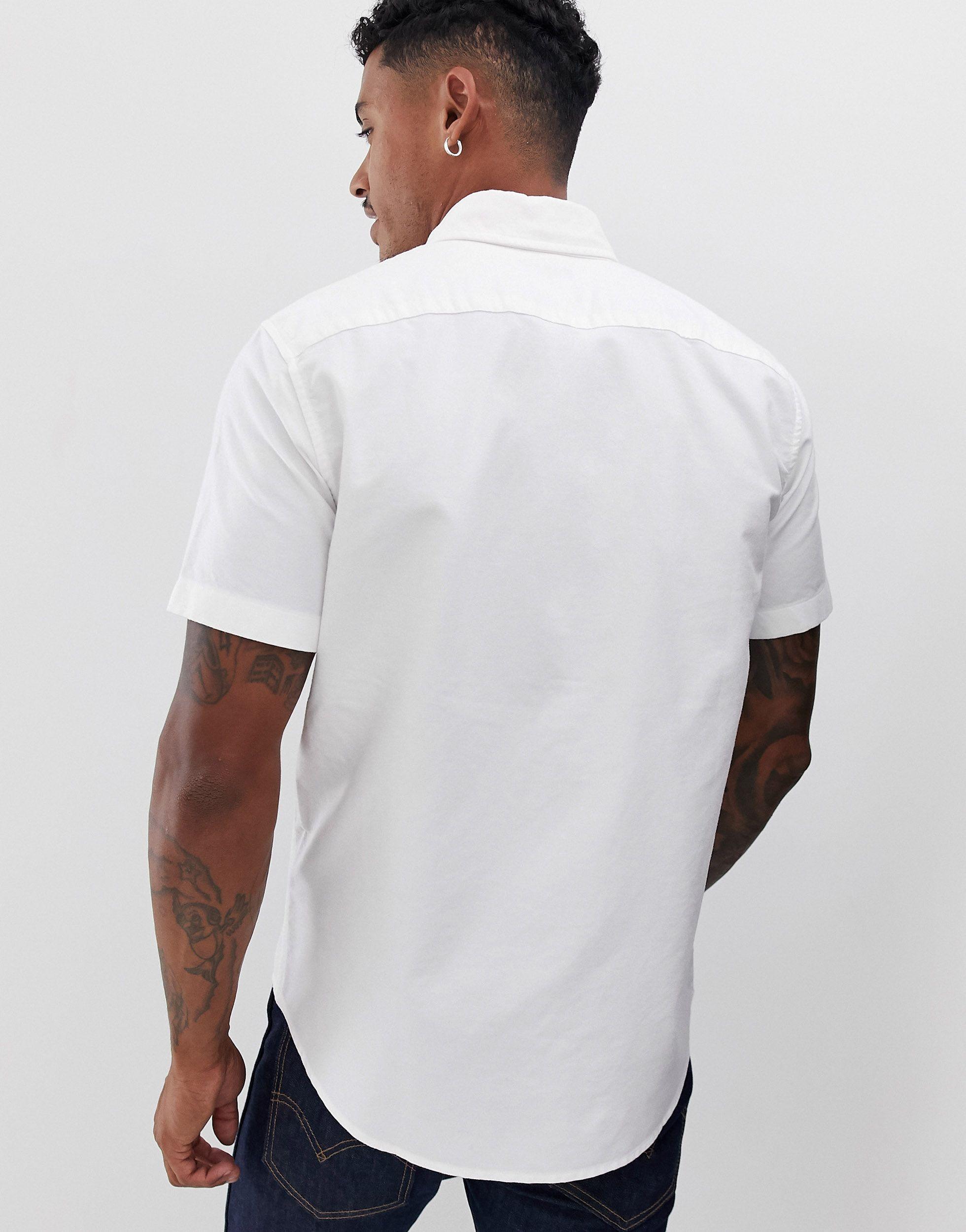Abercrombie & Fitch Katoen Oxford Overhemd Met Logo En Korte Mouwen in het Wit voor heren