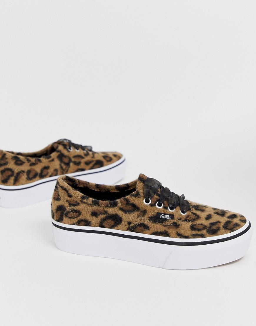 Vans Canvas Authentic Leopard Platform