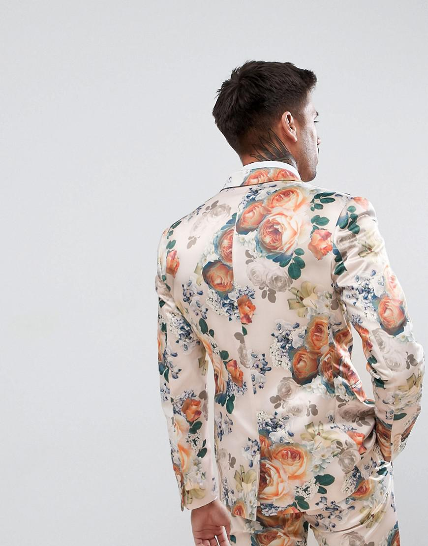 ASOS Asos Wedding Super Skinny Suit Jacket In Champagne Floral for Men