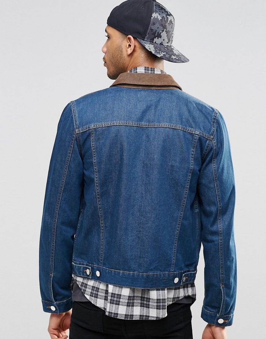 ASOS Denim Jacket In Slim Fit In Indigo With Cord Collar in Blue for Men