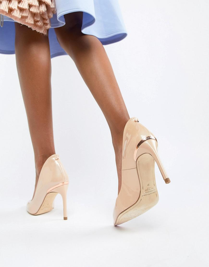 49d242397baecc Lyst ted baker savio nude patent leather pointed pumps in natural jpg  870x1110 Savio pumps