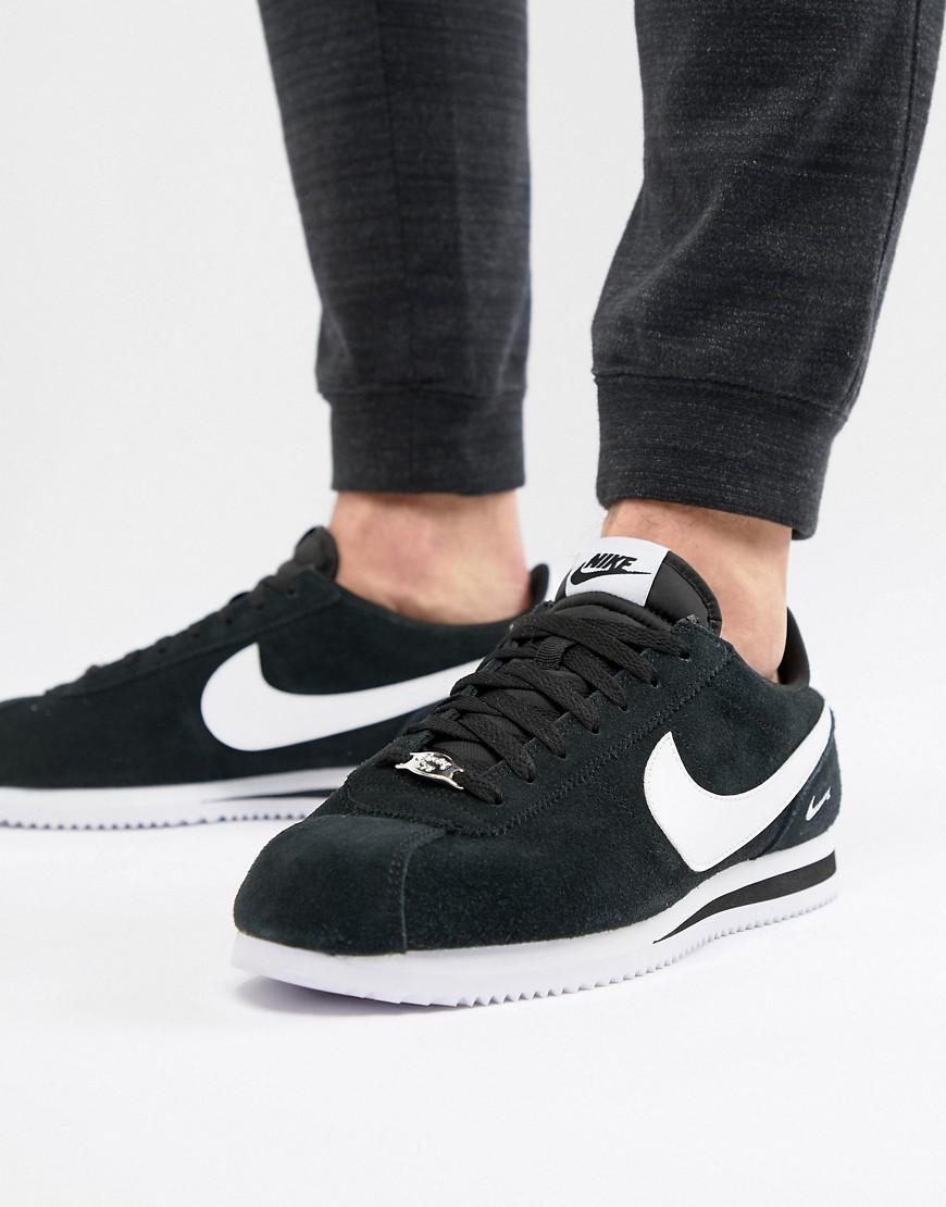 more photos 8bff7 1d551 Nike Cortez Suede Trainers In Black 902803-003 for Men - Lyst