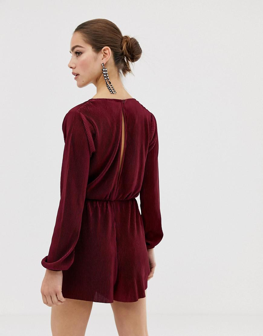 Image 1 of ASOS Wrap Playsuit with Long Sleeves w a n t 2de70fbdf