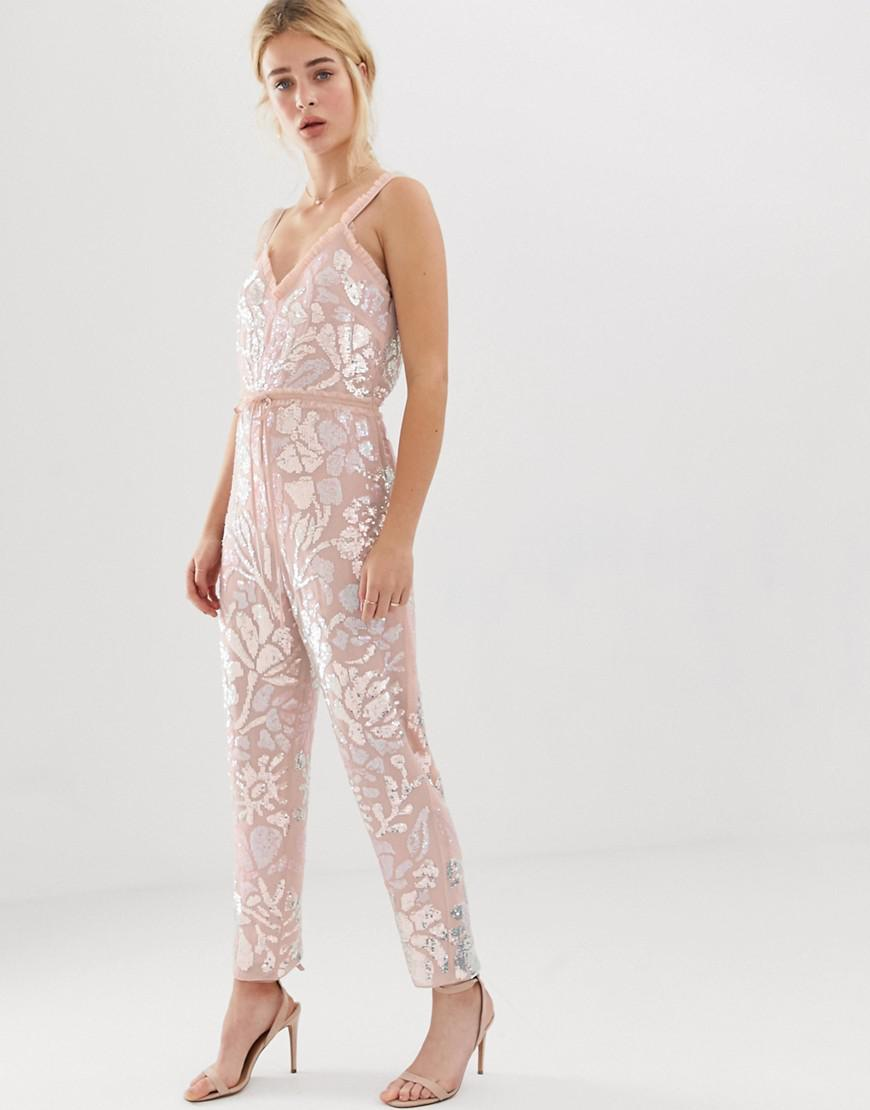 2e332769df37 Lyst - Needle   Thread Needle And Thread Floral Embellished Jumpsuit ...