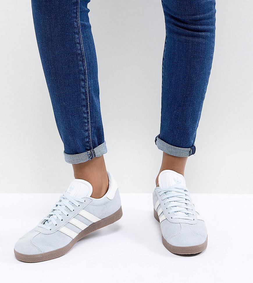 Gazelle Sneakers In Blue With Dark Gum Sole