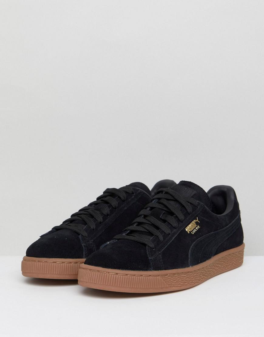 PUMA Suede Gum Sole Sneakers In Black