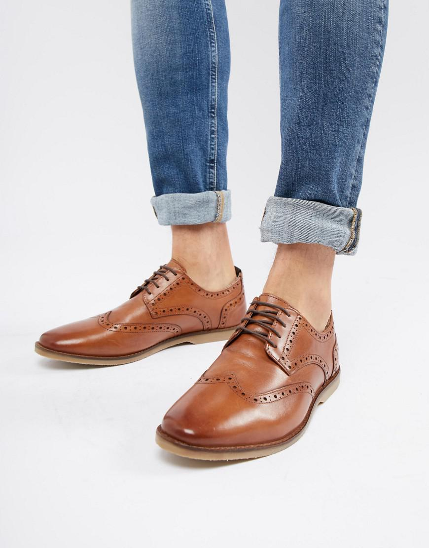Lyst - ASOS Casual Brogue Shoes In Tan Leather With Natural Sole in ... 74a53f78c65