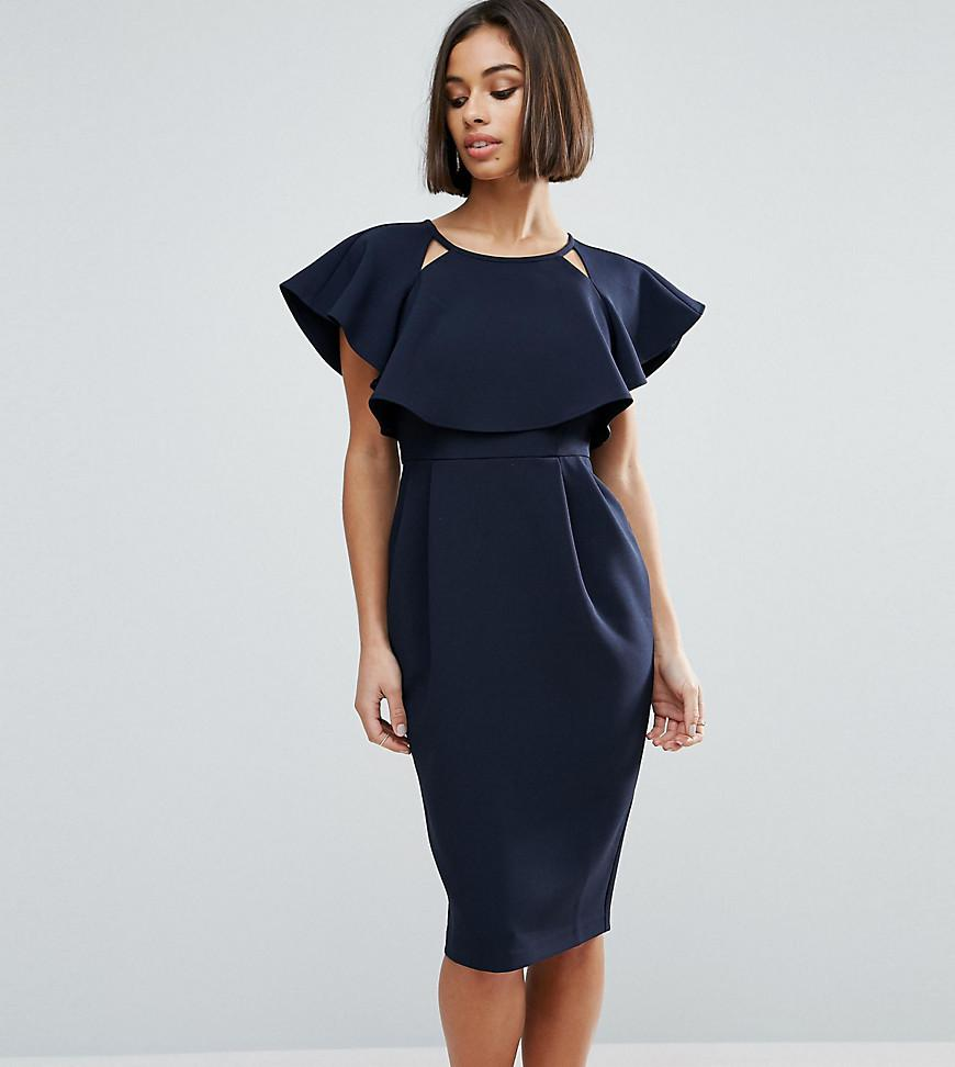 93baeac3e1c ASOS Double Layer Midi Dress With Cut Outs And Angel Sleeve in Blue ...