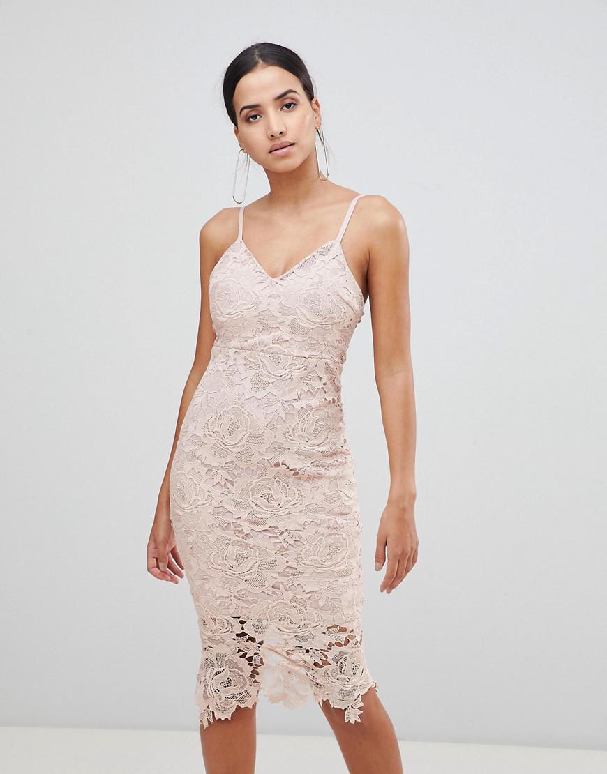 AX Paris Lace Cami Midi Dress in Pink - Lyst 999b66846